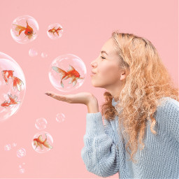 金鱼 泡泡 goldfish bubble 甜美 可爱