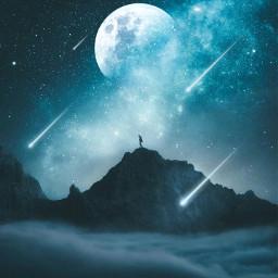 man nightsky sky blue moon stars shootingstar background wallpaper be_creative masterstoryteller freetoedit