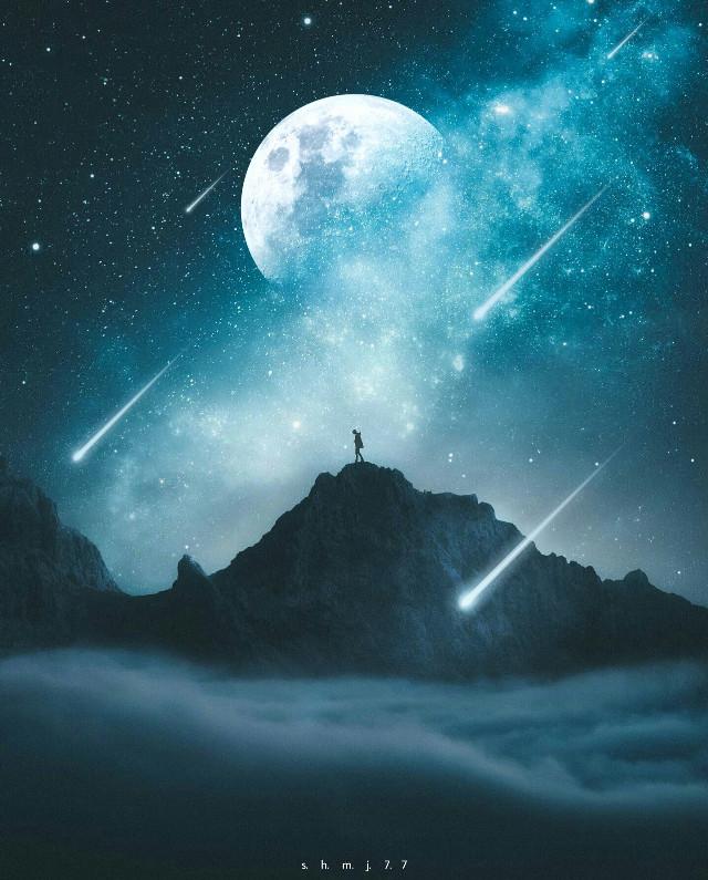 #man#nightsky#sky#blue#moon#stars #shootingstar#background#wallpaper #be_creative#masterstoryteller