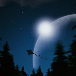 freetoedit galaxy galaxyedit moon sky night stars trees forest beauty be_creative art myedit lovely simple simpleedit
