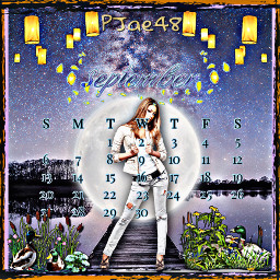 myedit picsart picsartedit picsartgirl picsartstickers lanterns moon moonlight lake duck september calendar boatdock freetoedit