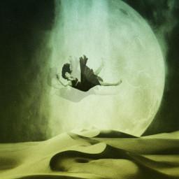 falling moon desert waterfall freetoedit