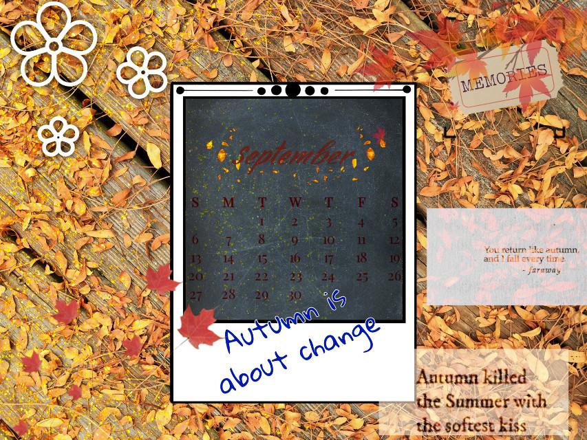 #fall #autumn #septembershere #september #septembercalendar #orange #leaves #change #autumnisaboutchange #blue #memories #summer #interesting #nature