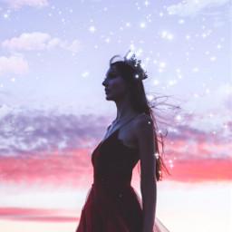 freetoedit queen girl sunset
