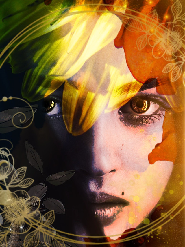 #kinora #myedit #madewithpicsart #lovepicsart #picsart #girl #female #beautiful #eyes #beautifuleyes #loveit #brown #gold #frame #sunflower #leaves #circle