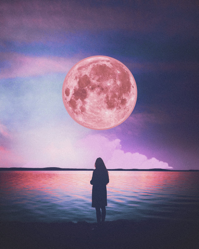 #replay#moon#creative#pink#purple#girl#sunset#colors#ombre#girlsilouette