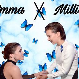 milliebobbybrown emmawatson emma watson millie blue butterflies emmaandmillie hermioniegranger eleven belle freetoedit