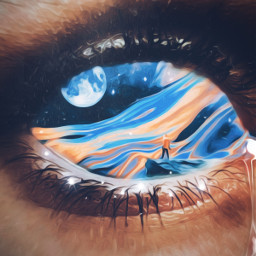 eyes eyecloseup world universe thinking surreal oilpaintingeffect blue moon tears imagination aesthetic artistic freetoedit