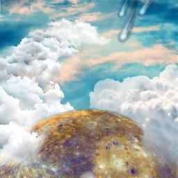 galaxy sky interesting cloud comet space planet skyline freetoedit