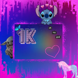 1000followers babyyoda unicorn heart neonheart stiches stich ohmygod mygod ohmy thankyousomuch thankyou thanks galaxy neon pain dripping 1kfollowers 1k 1000 butterfly instagram hearts rainbow pink freetoedit