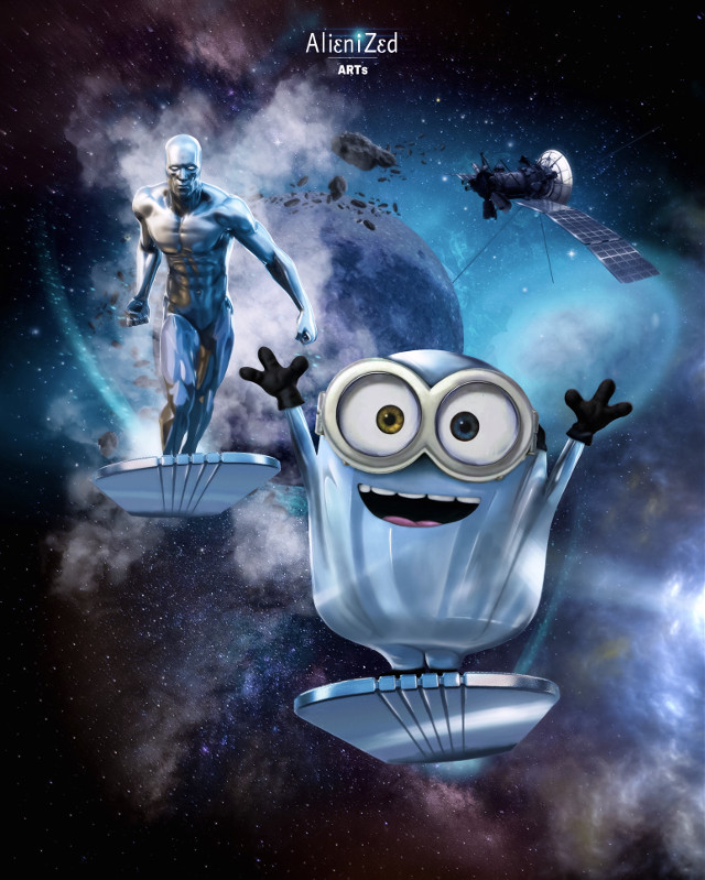 Alienized present     The Silver Minion ☝🏻👽   ________________       The silver surfer, silver minion and I   Wish you a FANTASTIC weekend  planet  ☝🏻👽👉🏻☕️🍩🍪@PA 😊       ________________       #marvel #universal #silversurfer #norrinradd #minions #fanart #heroes #superheroes #cute #space #galaxy #cosmic #alienized #wallpaper #uhd #redrawn #editedwithpicsart #freetoedit