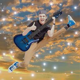 grantgustin guitar airguitar theflash flash jump clouds sky electricguitar freetoedit