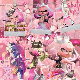 splatoon splatoon2pearl splatoon2 pearl pearlsplatoon pearlsplatoon2 aesthetic pink pinkaesthetic inkling polaroid freetoedit