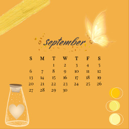 september calender yellow butterlfy aesthetic pallet cute immawin srcseptembercalendar septembercalendar freetoedit