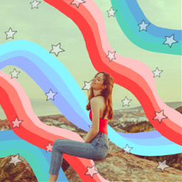 replay aesthetic aestheticedit collage vintage girl person stars blue red effects stickers nature beautiful trending pa freetoedit