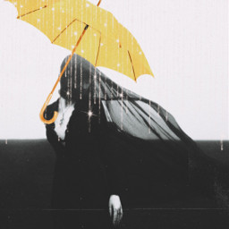 blackandwhite woman yellow umbrella challenge color dark mysterious beautiful freetoedit srcyellowumbrella yellowumbrella