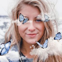 freetoedit clouds beautiful butterfly butterflies girl bluebutterfly