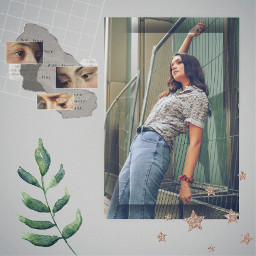 picsart freetoedit edit replay girl person effects stickers beautiful nature aesthetic aestheticedit collage stars gird face leaf shadow