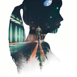 freetoedit heypicsart picsart myedit doubleexposure girl silhouette araceliss makeawesome forest urban night