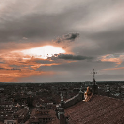 edit roof house city town sun sunset sky clouds pretty beauty beautiful nature stars spark sparkles girl sit enjoy fantasy aesthetic effect rooftop view freetoedit