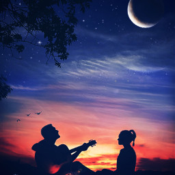 mastershoutout serenading dusk love nightmoon guitarist fxeffects fxtools maskeffects brusheffect silhouette freetoedit