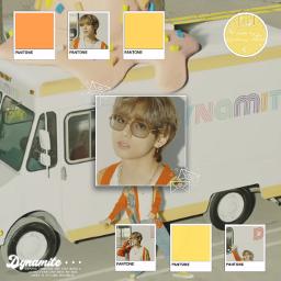 freetoedit notfreetoedit bts kpop v taehyung kimtaehyung jungkook jimin rm suga jin jhope aesthetic dynamite orange yellow pantone bighit