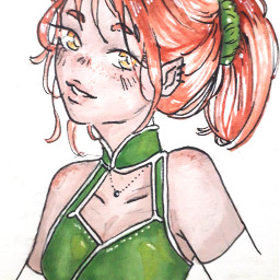 drawing penart pendrawing girl freetoedit cute zodiacs zodiacsign sagitarius aquarell green freckles