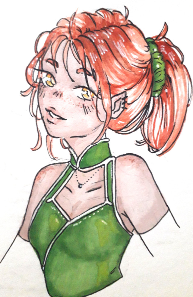 I've posted twice this week 😌 Anyway there is Sagitarius !  I just love freckles ♡  ~~ #drawing #penart #pendrawing #girl #freetoedit #cute #zodiacs #zodiacsign #sagitarius #aquarell #green #freckles   ~~ @aspeisse