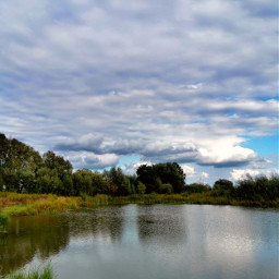 landscape lake reflection trees sky clouds beautifulnature beautifulday myphoto myclick summer summertime freetoedit