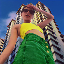 fashion fashionpose fashuonart photoart photoedit jeans denim tanktop colorful magiceffect colorburst prettygirl beautiful pose model highrise building architecture bluesky loveandkisses freetoedit