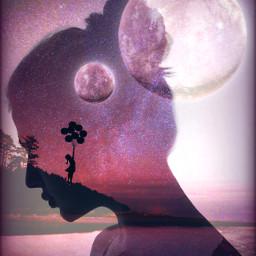 fantasy doubleexposure surreal silhouette moonlight freetoedit
