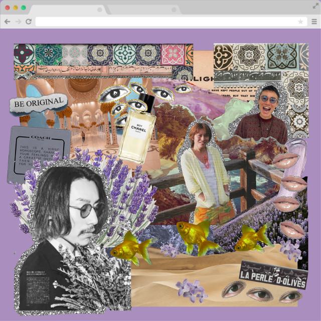 Happy early birthday to yasu🏵 #digitalart #collage #thistle #bigsur #beach #ocean #mosque #goldfish #lavender #coach #desert #chanel #shotayasuda #kanjanieight  #freetoedit