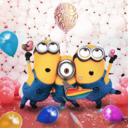 happy minions ballons birthday freetoedit