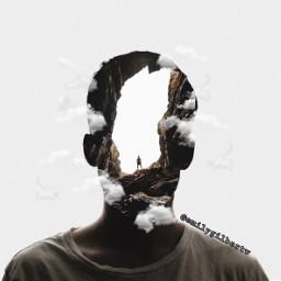 faceedit man cliff mountain crack head effects follow like
