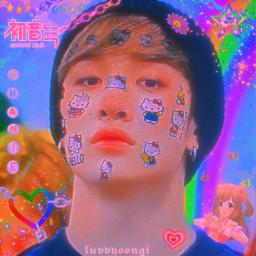 bangchan channie skz straykids kpop aesthetic kidcore rainbowcore kpopedit cybercore cybergoth cyberghetto cyberpunk