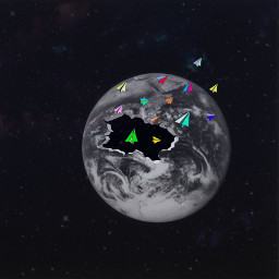 popofcolor planes colorful earth planet space galaxy blackandwhite challenge hole breakthrough effects awesome srccolorfulpaperplanes colorfulpaperplanes