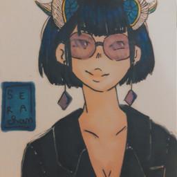 drawing penart pendrawing girl freetoedit cute zodiacs zodiacsign capricornzodiac capricorn capricorns baddie purple blue glasses