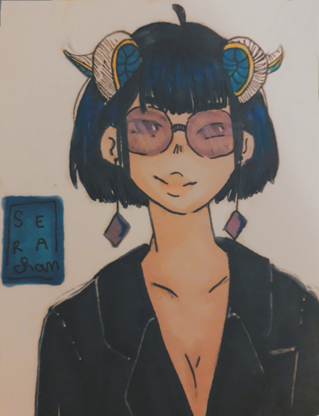 The last one... capricorn (she looks like the bad one in movies XD) . I'm maybe gonna do an anime theme ?  Ugh I don't know, if u have an idea tell me ^^  ~~ #drawing #penart #pendrawing #girl #freetoedit #cute #zodiacs #zodiacsign #capricornzodiac #capricorn #capricorns #baddie #purple #blue #glasses   ~~ @aspeisse