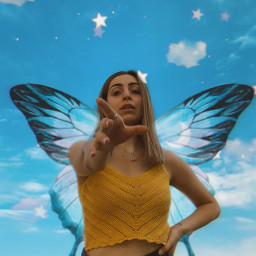 aesthetic aesthetictumblr wings fairy butterfly blueaesthetic sky