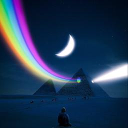 freetoedit rainbow light pyramid sky stars colors