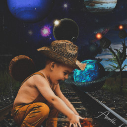 all littleboy hat railroadtracks planets thistle freetoedit