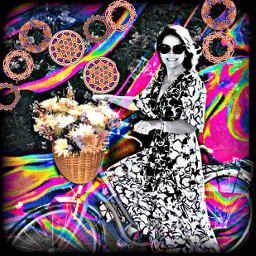 lady bike flowers sunglasses basket freetoedit