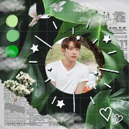 jinyoung jinyoung_got7 got7 green greenaesthetic aesthetic stickers clouds flowers birds heart white whiteaesthetic film3 film3effect noise freetoedit