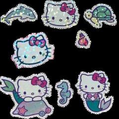 mermaid hello kitty sanrio hellokitty indie stickers sticker pack stickerpack bow turtle dolphin tiktok aesthetic alt 2000s kidcore cute sparkles sparkly girl mermaids seahorse freetoedit