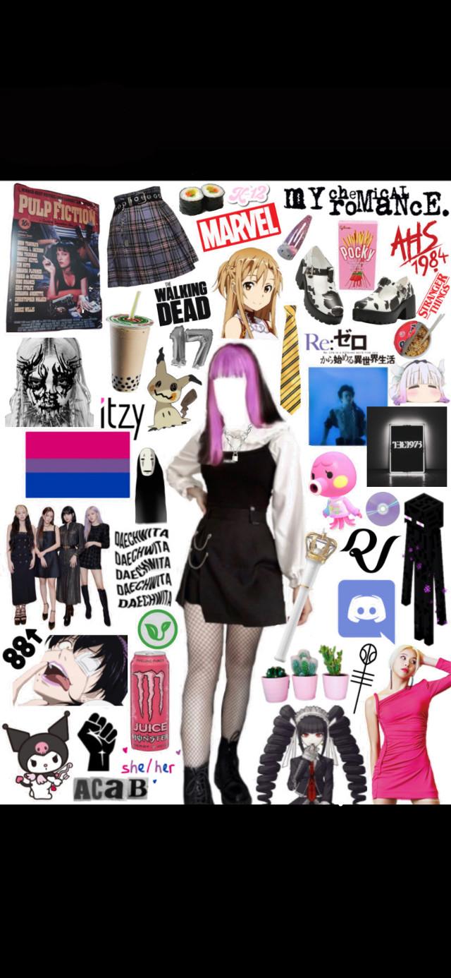 moodboard of myself!! #kpop #alt #boba #weeb #blackpink #dangonronpa #kakegurui #anime #music #discord #gamer