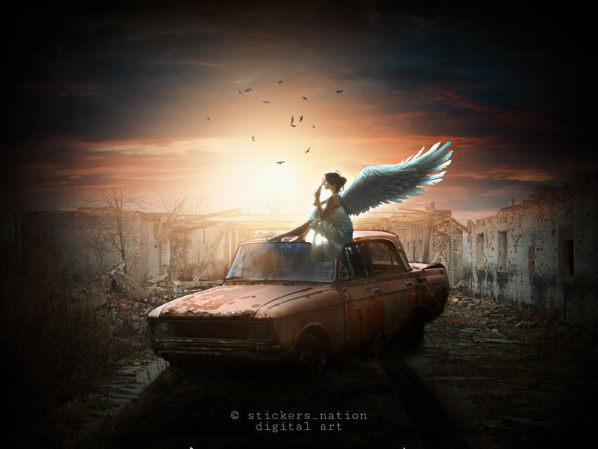 Angel .  Orignal concept : RafyA yt   #angel #landscape #surreal #surrealism #background #papicks #heypicsart #madewithpicsart