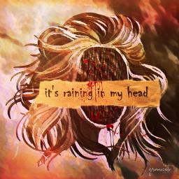 freetoedit woman rain blood mentalillness ontheinside myedit