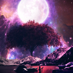 freetoedit mekeawesome fantasy surreal myedit madewithpicsart silhouette galaxy moonlight moon araceliss autumncolors landscape sunset