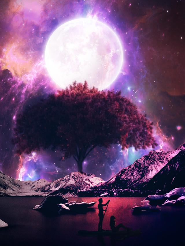 🙋♀️ Hi😘 #freetoedit #mekeawesome #fantasy #surreal #myedit #madewithpicsart #silhouette #galaxy #moonlight #moon #araceliss #autumncolors #landscape #sunset