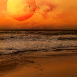 beach orange nature ocean edited hue blending photomanipulation madewithpicsart freetoedit